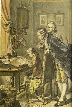 曲をするモーツァルト  楽譜を書いているヴォルフガングの様子をのぞき込んでいるのは、父親のレオポルト。 そばにいるのはシャハトナー